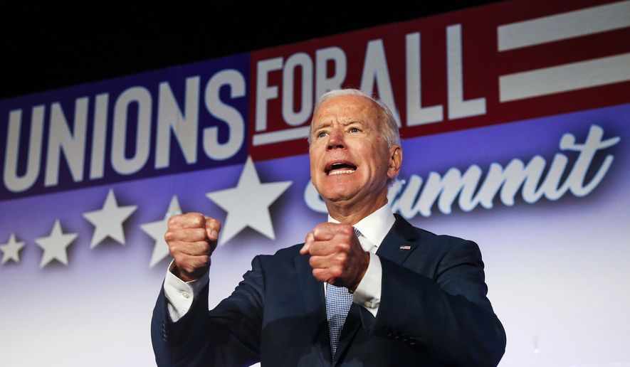 Former Vice President and Democratic presidential candidate Joe Biden speaks in SEIU Unions For All Summit on Friday, Oct. 4, 2019, in Los Angeles. (AP Photo/Ringo H.W. Chiu)