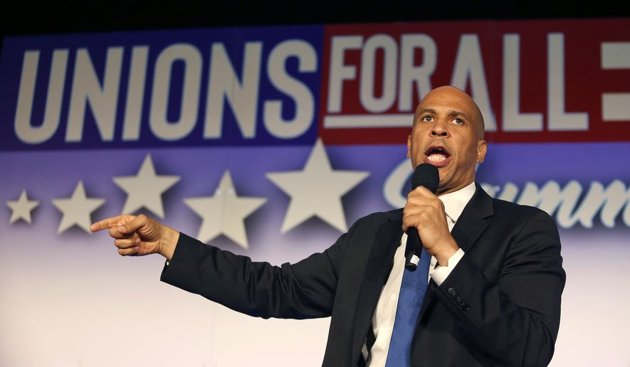 Democratic presidential candidate Sen. Cory Booker, D-N.J., speaks in SEIU Unions For All Summit on Friday, Oct. 4, 2019, in Los Angeles. (AP Photo/Ringo H.W. Chiu)