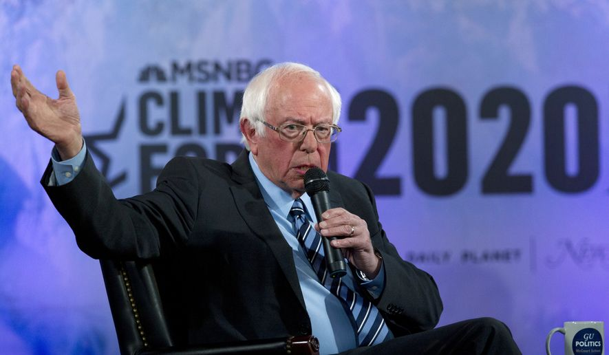 In this Sept. 19, 2019, file photo, Democratic presidential candidate Sen. Bernie Sanders, I-Vt., speaks during the Climate Forum at Georgetown University in Washington. (AP Photo/Jose Luis Magana) ** FILE **