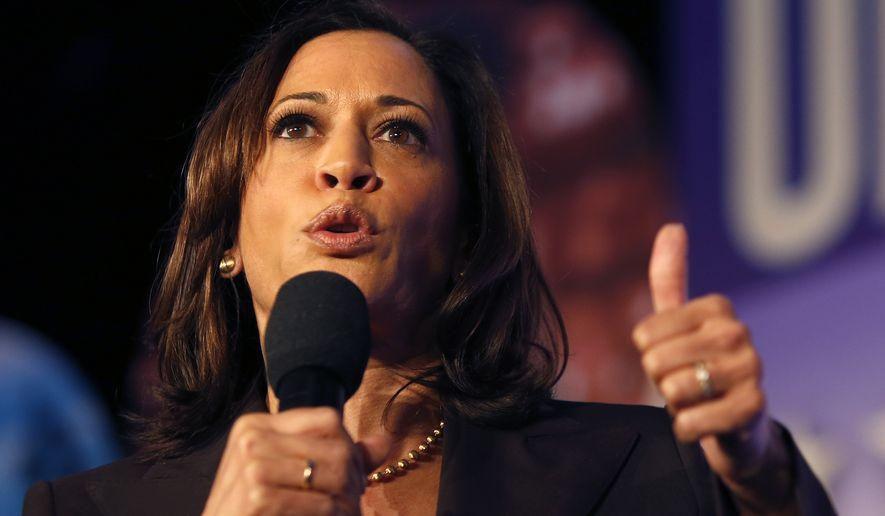 Democratic presidential candidate Sen. Kamala Harris, D-Calif., speaks in SEIU Unions For All Summit on Friday, Oct. 4, 2019, in Los Angeles. (AP Photo/Ringo H.W. Chiu)