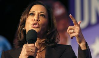 Democratic presidential candidate Sen. Kamala Harris, D-Calif., speaks at the SEIU Unions For All Summit on Friday, Oct. 4, 2019, in Los Angeles. (AP Photo/Ringo H.W. Chiu)