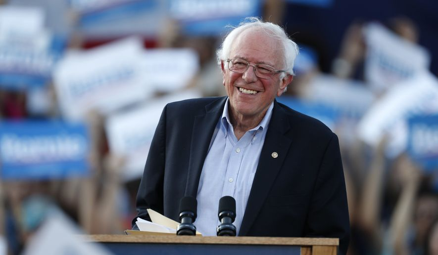 In this Monday, Sept. 9, 2019, file photo, Democratic presidential candidate Sen. Bernie Sanders, I-Vt., speaks during a rally at a campaign stop, in Denver. (AP Photo/David Zalubowski, File)