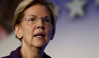 Democratic presidential candidate Sen. Elizabeth Warren, D-Mass., speaks in SEIU Unions For All Summit on Friday, Oct. 4, 2019, in Los Angeles. (AP Photo/Ringo H.W. Chiu)