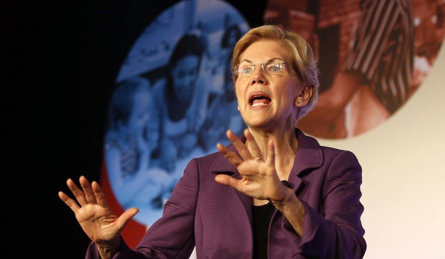 Democratic presidential candidate Sen. Elizabeth Warren, D-Mass., speaks in SEIU Unions For All Summit on Friday, Oct. 4, 2019, in Los Angeles. (AP Photo/Ringo H.W. Chiu)