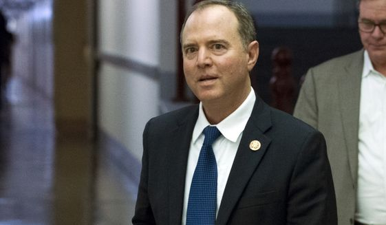 House Intelligence Committee Chairman Adam Schiff, D-Calif., arrives for a closed-door interview with Intelligence Community Inspector General Michael Atkinson, as House Democrats proceed with the impeachment investigation of President Donald Trump, at the Capitol in Washington, Friday, Oct. 4, 2019. (AP Photo/Jose Luis Magana)