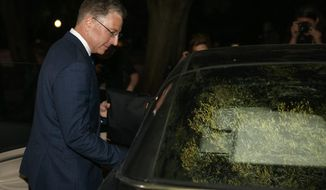 Kurt Volker, a former special envoy to Ukraine, gets in a car after leaves a closed-door interview with House investigators at the Capitol, Thursday, Oct. 3, 2019, in Washington. (AP Photo/Jacquelyn Martin)