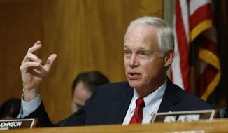 In this June 26, 2019, file photo, Sen. Ron Johnson, R-Wis., chairman of the Senate Committee on Homeland Security and Governmental Affairs, speaks during a hearing on border security, on Capitol Hill in Washington. (AP Photo/Patrick Semansky)