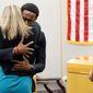 Brandt Jean hugs former Dallas Police Officer Amber Guyger. (Associated Press)