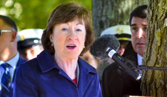 Sen. Susan Collins, R-Maine, speaks during annual remembrance ceremonies on Saturday, Oct.  5, 2019 at firefighters memorial near the Maine State House in Augusta, Maine. (Joe Phelan/The Kennebec Journal via AP)
