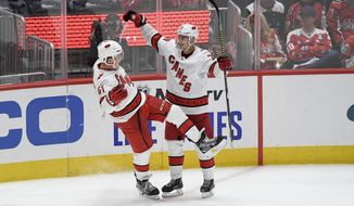Carolina Hurricanes defenseman Jake Gardiner (51) celebrates his game-winning goal with center Sebastian Aho (20), of Finland, in overtime of an NHL hockey game against the Washington Capitals, Saturday, Oct. 5, 2019, in Washington. The Hurricanes won 3-2. (AP Photo/Nick Wass)