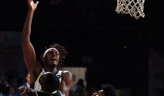 Indiana Pacers player Myles Turner plays against Sacramento Kings at the NBA India Games 2019, in Mumbai, India, Saturday, Oct. 5, 2019. (AP Photo/Rajanish Kakade)