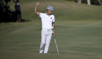Kevin Na celebrates a birdie on the 18th hole during the second round of Shriners Hospitals for Children Open golf tournament at TPC Summerlin in Las Vegas on Friday, Oct. 4, 2019. The birdie put Na into a four-way tie for the lead. (K.M. Cannon/Las Vegas Review-Journal)