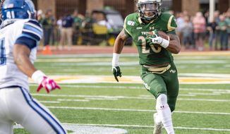 William & Mary's Donavyn Lester runs towards the end zone during the first half of an NCAA college football game against Villanova Saturday, Oct. 5, 2019 in Williamsburg, Va. (Mike Caudill/The Virginian-Pilot via AP)