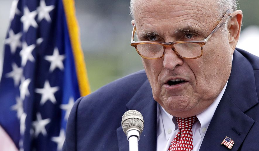 This Aug. 1, 2018, photo shows Rudy Giuliani, an attorney for President Donald Trump, in Portsmouth, N.H. (AP Photo/Charles Krupa) **FILE**