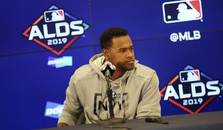 New York Yankees pitcher Luis Severino ponders a question from the media Sunday, Oct. 6, 2019, in Minneapolis as the team prepares for Game 3 of the American League Division Series baseball playoffs against the Minnesota Twins. (AP Photo/Jim Mone)