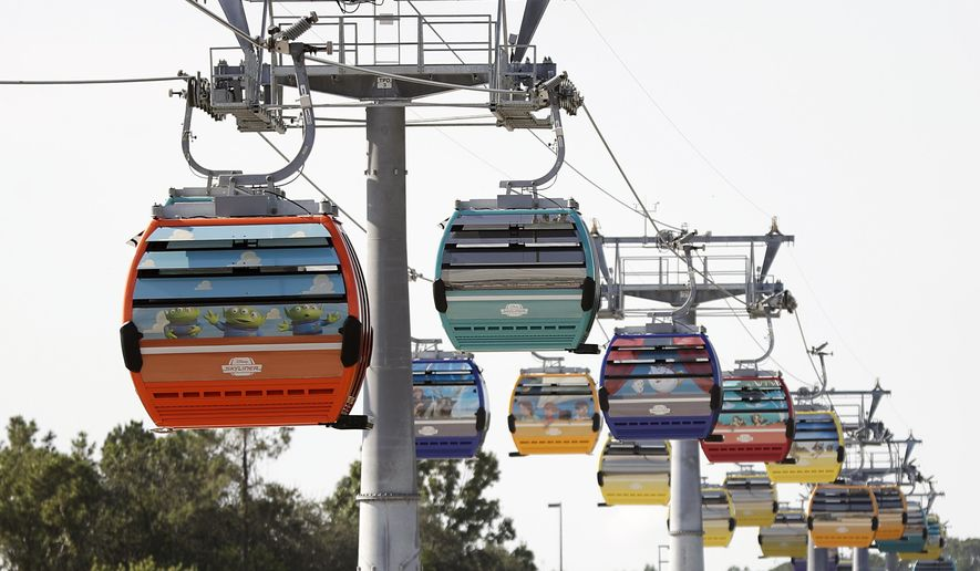 FILE - In this Friday, Sept. 27, 2019, file photo, gondolas move to various locations at Walt Disney World on the Disney Skyliner aerial tram, in Lake Buena Vista, Fla. Firefighters have responded to help Walt Disney World park-goers who have been stuck aboard the Florida resort's newly launched aerial cable car system, late Saturday, Oct. 5, 2019. (AP Photo/John Raoux, File)