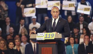 Ramush Haradinaj, leader of Alliance for The Future of Kosovo (AAK) holds a speech during a closing election rally in Gjakova, Kosovo on Friday, Oct. 4, 2019. In Kosovo's seventh post-war general elections some 1.9 million voters, including many immigrants, will cast ballots to elect 120 lawmakers.  (AP Photo/Visar Kryeziu)