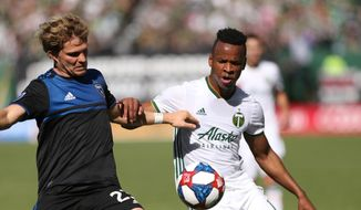 Portland Timbers' Jeremy Ebobisse, right, and San Jose Earthquakes' Florian Jungwirth fight for possession during an MLS soccer match in Portland, Ore., Sunday, Oct. 6, 2019. (Sean Meagher/The Oregonian via AP)