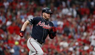 Atlanta Braves' Josh Donaldson runs after hitting a single during the ninth inning in Game 3 of a baseball National League Division Series against the St. Louis Cardinals, Sunday, Oct. 6, 2019, in St. Louis. (AP Photo/Jeff Roberson) **FILE**