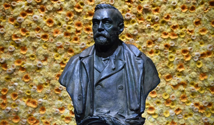 In this Monday, Dec. 10, 2018, file photo, a bust of the Nobel Prize founder, Alfred Nobel on display at the Concert Hall during the Nobel Prize award ceremony in Stockholm. (Henrik Montgomery/Pool Photo via AP, File)