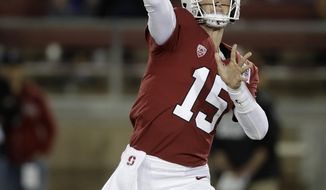 Stanford quarterback Davis Mills passes against Washington during the first half of an NCAA college football game Saturday, Oct. 5, 2019, in Stanford, Calif. (AP Photo/Ben Margot)