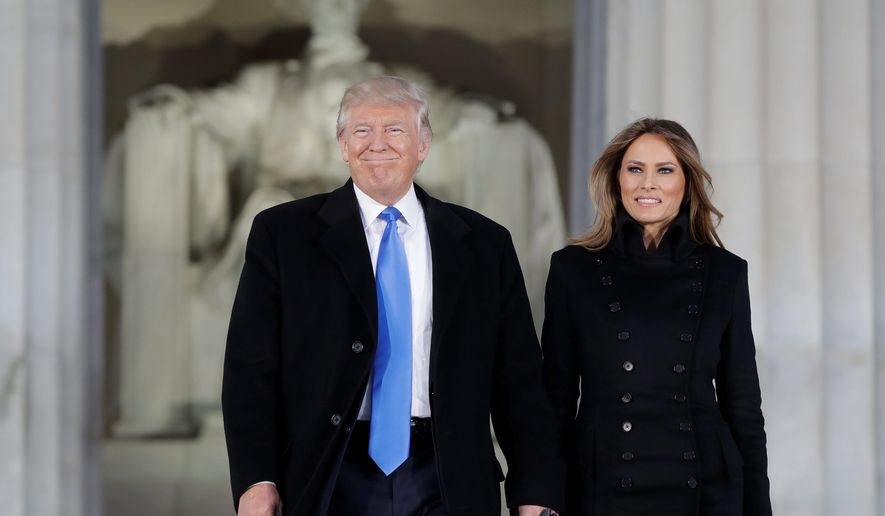 President Trump and first lady Melania Trump on Inauguration Day, 2017. A new rally is now being planned to ensure that he is reelected. (ASSOCIATED PRESS)