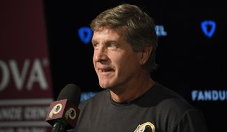 Washington Redskins interim head coach Bill Callahan speaks to the media at an NFL football news conference Monday, Oct. 7, 2019, in Ashburn, Va. (AP Photo/Nick Wass)