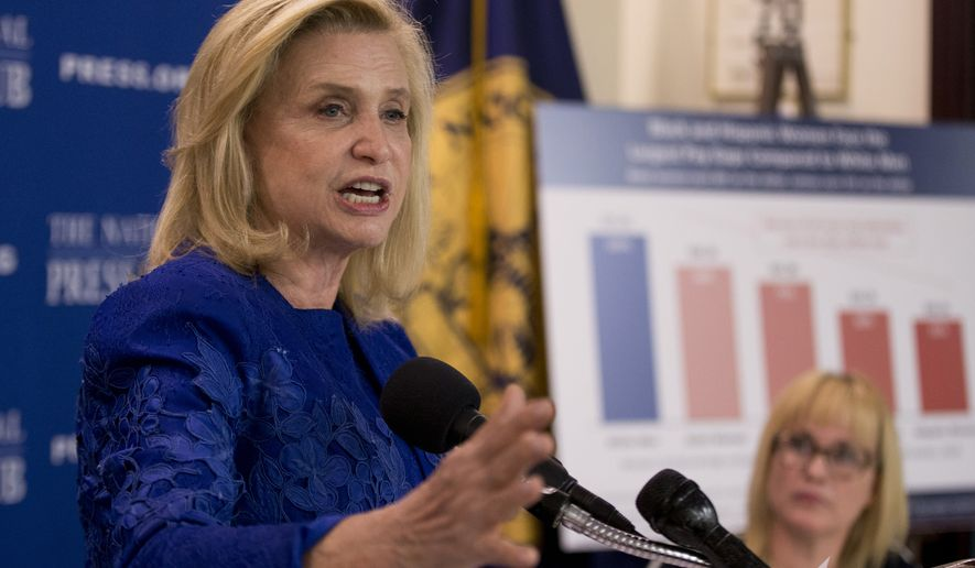 In this April 12, 2016, file photo, Rep. Carolyn Maloney, D-N.Y., speaks during a National Press Club Newsmaker news conference, on Equal Pay Day, at the National Press Club in Washington. (AP Photo/Manuel Balce Ceneta, File)