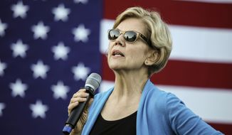 Democratic presidential candidate Sen. Elizabeth Warren, D-Mass., speaks at a campaign event Friday, Sept. 27, 2019, in Hollis, N.H. (AP Photo/Cheryl Senter)