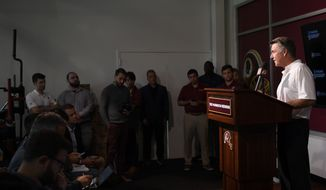 Washington Redskins president Bruce Allen speaks to the media at an NFL football news conference, Monday, Oct. 7, 2019, in Ashburn, Va.  Jay Gruden was fired as head coach of the Washington Redskins on Monday after an 0-5 start to the sixth season of a tenure that featured only one playoff appearance. Owner Daniel Snyder and team president Bruce Allen informed Gruden he was out early Monday morning, a day after a 33-7 loss to the New England Patriots.(AP Photo/Nick Wass) **FILE**