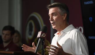 Washington Redskins president Bruce Allen speaks to the media at an NFL football news conference, Monday, Oct. 7, 2019, in Ashburn, Va.  Jay Gruden was fired as head coach of the Washington Redskins on Monday after an 0-5 start to the sixth season of a tenure that featured only one playoff appearance. Owner Daniel Snyder and team president Bruce Allen informed Gruden he was out early Monday morning, a day after a 33-7 loss to the New England Patriots. (AP Photo/Nick Wass)