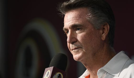 Washington Redskins president Bruce Allen listens to a question from the media at an NFL football news conference, Monday, Oct. 7, 2019, in Ashburn, Va.  Jay Gruden was fired as head coach of the Washington Redskins on Monday after an 0-5 start to the sixth season of a tenure that featured only one playoff appearance. Owner Daniel Snyder and team president Bruce Allen informed Gruden he was out early Monday morning, a day after a 33-7 loss to the New England Patriots. (AP Photo/Nick Wass) ** FILE **