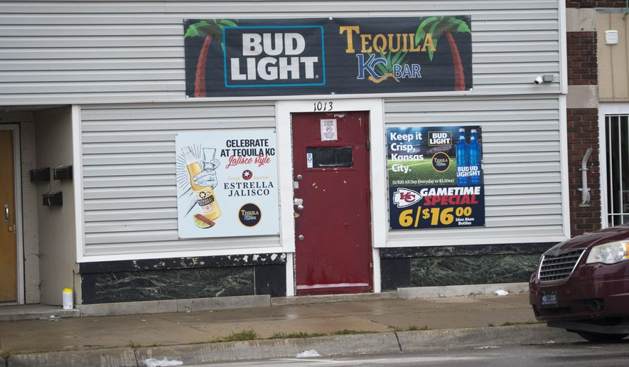 Two gunmen entered a Kansas City, Kansas, bar, Tequila KC early Sunday, Oct. 6, 2019 and shot multiple people, killing several of them. The shooting occurred shortly after 1:30 a.m. at the bar near 10th Street and Central Avenue.  (Tammy Ljungblad/The Kansas City Star via AP)