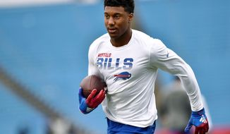 FILE - In this Sunday, Sept. 29, 2019, file photo, Buffalo Bills wide receiver Zay Jones warms up before an NFL football game against the New England Patriots, in Orchard Park, N.Y. A person familiar with the move confirms to The Associated Press that the Buffalo Bills have agreed to trade receiver Zay Jones to the Oakland Raiders. (AP Photo/Adrian Kraus, File)
