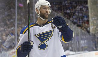St. Louis Blues defencseman Alex Pietrangelo (27) celebrates after scoring against the Toronto Maple Leafs during third-period NHL hockey game action in Toronto, Monday, Oct. 7, 2019. (Chris Young/The Canadian Press via AP)