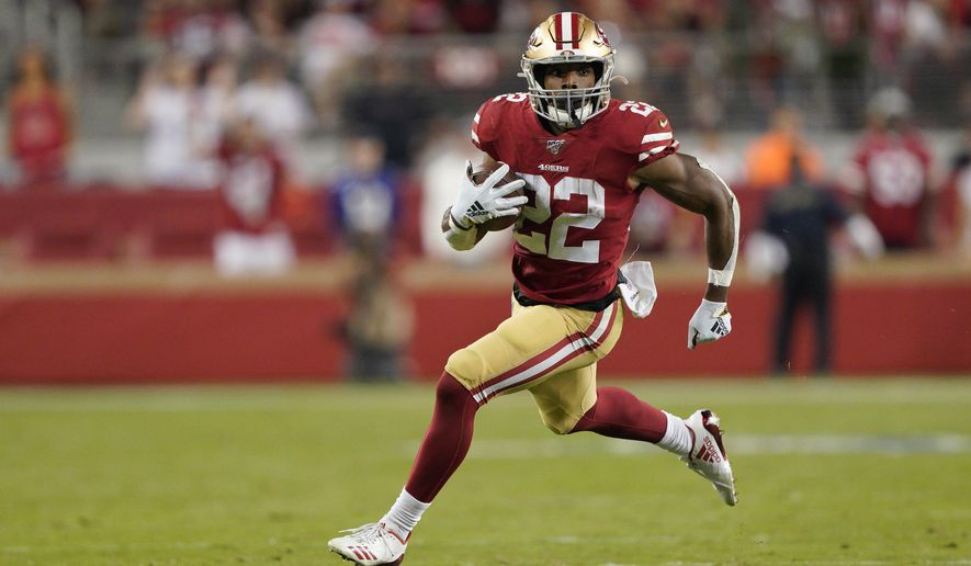 San Francisco 49ers running back Matt Breida (22) runs against the Cleveland Browns during the second half of an NFL football game in Santa Clara, Calif., Monday, Oct. 7, 2019. (AP Photo/Tony Avelar)