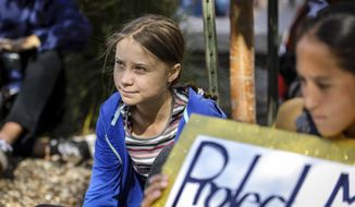 Greta Thunberg looks on during the Climate Change Rally and March Monday, Oct. 7, 2019 in Rapid City, S.D. (Adam Fondren/Rapid City Journal via AP)