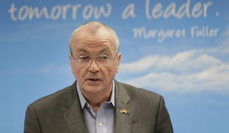 New Jersey Governor Phil Murphy speaks to reporters and others at an elementary school in Bergenfield, N.J., Monday, Oct. 7, 2019. Murphy and other local politicians announced efforts to deal with lead contamination in drinking water, specifically in schools. (AP Photo/Seth Wenig)