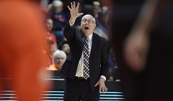 Washington Mystics head coach Mike Thibault gives instructions from the bench during the second half in Game 3 of basketball's WNBA Finals against the Connecticut Sun, Sunday, Oct. 6, 2019, in Uncasville, Conn. (AP Photo/Jessica Hill) **FILE**