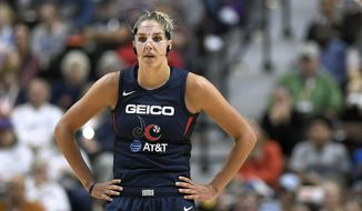 Washington Mystics' Elena Delle Donne stands on the court during the second half in Game 3 of basketball's WNBA Finals, Sunday, Oct. 6, 2019, in Uncasville, Conn. (AP Photo/Jessica Hill) ** FILE **