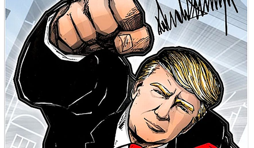 "Is there a ""must-have"" for President' Trump's fans as the 2020 election approaches? Maybe. His campaign has just released a limited edition poster of Mr. Trump as he would appear in mid-flight, Superman style, one fist raised over his head. (Image from Donald J. Trump for President, Inc.)"