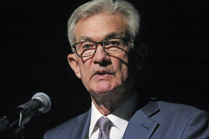 Federal Reserve Chairman Jerome Powell speaks Monday, Oct. 7, 2019, in Salt Lake City, before the premiere of a film commemorating Marriner Eccles, who led the Fed from 1934 until 1948. (AP Photo/Rick Bowmer)