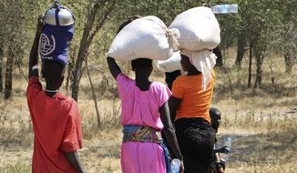 FILE - In this Friday, Dec. 7, 2018 file photo, women and girls walk back after getting food in Bentiu, a 38 kilometers (24 miles) journey using a path through the bush, for fear of being attacked on the main road, near Nhialdu in South Sudan. South Sudan's government is failing to provide justice for victims of atrocities committed during the country's five-year civil war, Amnesty International said in a new report Monday, Oct. 7, 2019. (AP Photo/Sam Mednick, File)