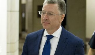 FILE - In this Oct. 3, 2019 file photo, Kurt Volker, a former special envoy to Ukraine, leaves a closed-door interview with House investigators as House Democrats proceed with the impeachment investigation of President Donald Trump, at the Capitol in Washington. In a statement Monday, Oct. 7 issued by the McCain Institute for International Leadership at Arizona State University, Kurt Volker says he is leaving his post as its executive director. (AP Photo/Jose Luis Magana, File)