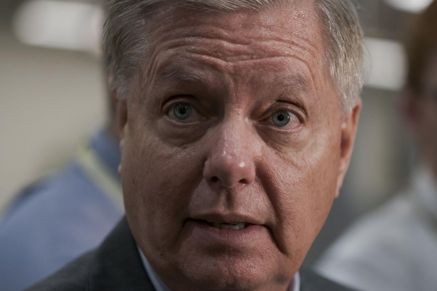 Senate Judiciary Committee Chairman Lindsey Graham, R-S.C., takes questions from reporters following a closed-door briefing on Iran, at the Capitol in Washington, Wednesday, Sept. 25, 2019. (AP Photo/J. Scott Applewhite)