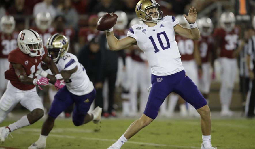 Washington's Jacob Eason passes against Stanford in the second half of an NCAA college football game Saturday, Oct. 5, 2019, in Stanford, Calif. (AP Photo/Ben Margot)