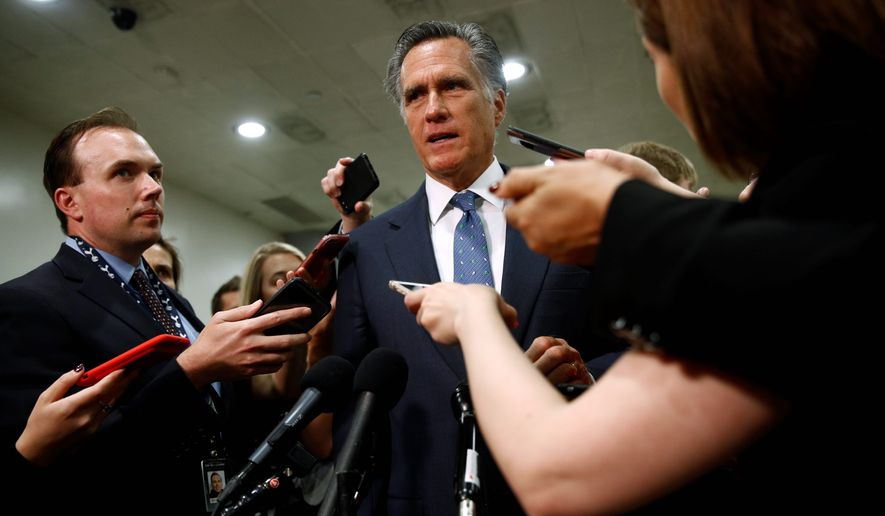 """Some analysts now speculate that Sen. Mitt Romney of Utah is not eyeing a presidential run, preferring to be a key figure in the """"Republican resistance"""" against President Trump. (Associated Press)"""