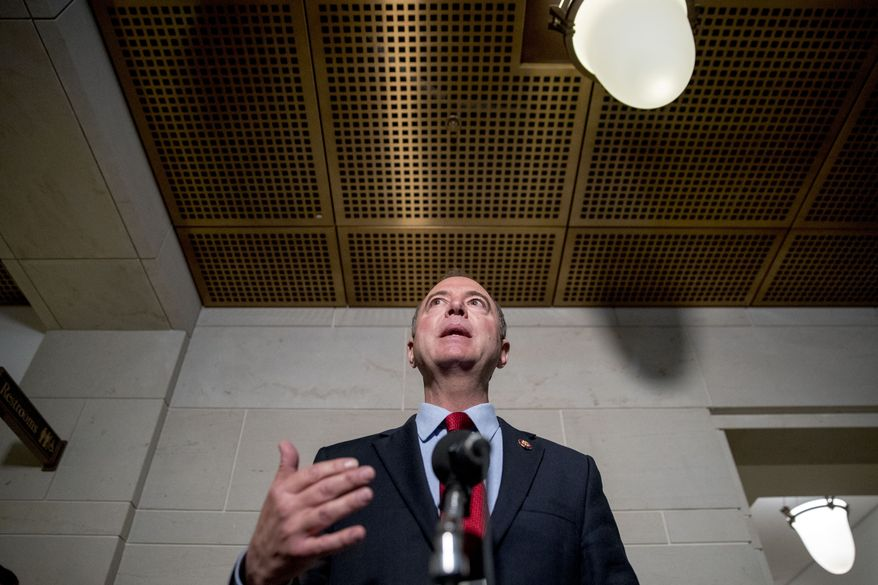 Rep. Adam Schiff, D-Calif., Chairman of the House Intelligence Committee, gives a statement to members of the media on Capitol Hill in Washington, Tuesday, Oct. 8, 2019.  The Trump administration barred Gordon Sondland, the U.S. European Union ambassador, from appearing Tuesday before a House panel conducting the impeachment inquiry of President Donald Trump. (AP Photo/Andrew Harnik)
