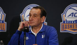 Duke coach Mike Krzyzewski listens to a question during the Atlantic Coast Conference NCAA college basketball media day in Charlotte, N.C., Tuesday, Oct. 8, 2019. (AP Photo/Nell Redmond) **FILE**
