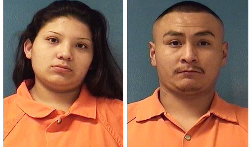 FILE - This combination of Dec. 8, 2018, file booking photos providing by McKinley County Adult Detention Center shows Shayanne Nelson, left, and Tyrell Bitsilly. Bitsilly, who is facing charges in connection with the shooting of an infant girl, has admitted he accidentally fired the weapon, not the girl's 3-year-old brother. Authorities also said Friday, Oct. 4, 2019, Bitsilly is facing new charges after authorities say he tried to arrange the killings of Nelson and a retired military medic who helped saved the infant girl's life. (McKinley County Adult Detention Center via AP, File)